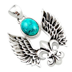 4.25cts natural green turquoise tibetan 925 silver feather charm pendant r52862