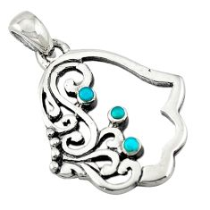 Natural green turquoise tibetan 925 silver hand of god hamsa pendant c10914