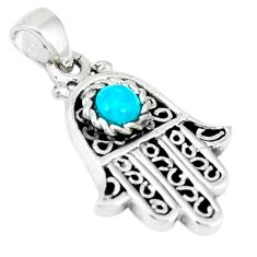 Natural green turquoise tibetan 925 silver hand of god hamsa pendant c10941