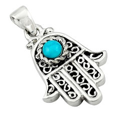 Natural green turquoise tibetan 925 silver hand of god hamsa pendant c10942