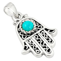 Natural green turquoise tibetan 925 silver hand of god hamsa pendant c10951