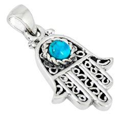 Natural green turquoise tibetan 925 silver hand of god hamsa pendant c10954