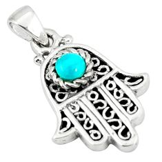 Natural green turquoise tibetan 925 silver hand of god hamsa pendant c10958
