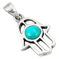 Natural green turquoise tibetan 925 silver hand of god hamsa pendant c10964