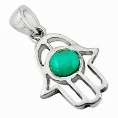 Natural green turquoise tibetan 925 silver hand of god hamsa pendant c10976