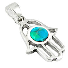 Natural green turquoise tibetan 925 silver hand of god hamsa pendant c10979