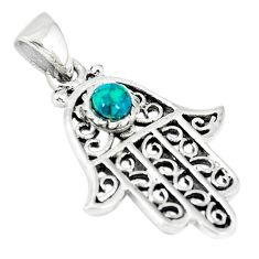 Natural green turquoise tibetan 925 silver hand of god hamsa pendant c10981
