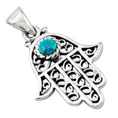 Natural green turquoise tibetan 925 silver hand of god hamsa pendant c10989