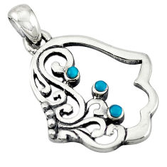 Natural green turquoise tibetan 925 silver hand of god hamsa pendant c10999