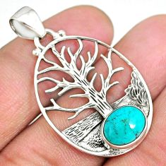 4.19cts natural green turquoise tibetan 925 silver tree of life pendant r90424