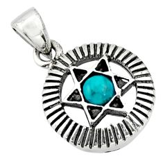 0.43cts natural green turquoise tibetan 925 silver wicca symbol pendant c10245