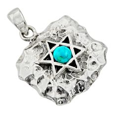 0.52cts natural green turquoise tibetan 925 silver wicca symbol pendant c10255