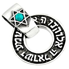0.32cts natural green turquoise tibetan 925 silver wicca symbol pendant c10273
