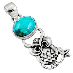 4.06cts natural green turquoise tibetan 925 sterling silver owl pendant r52931