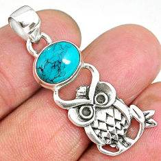 4.15cts natural green turquoise tibetan 925 sterling silver owl pendant r90481