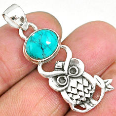 4.18cts natural green turquoise tibetan 925 sterling silver owl pendant r90482