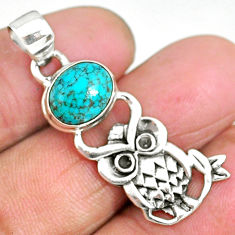 4.19cts natural green turquoise tibetan 925 sterling silver owl pendant r90484