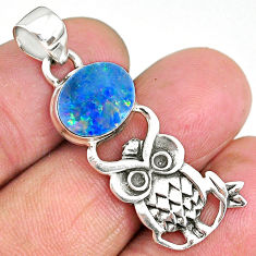 3.59cts natural green turquoise tibetan 925 sterling silver owl pendant r90485