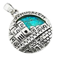 5.53cts natural green turquoise tibetan 925 sterling silver pendant c10275