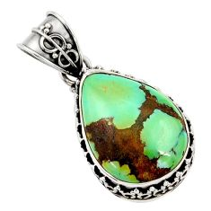 16.20cts natural green turquoise tibetan 925 sterling silver pendant d45367