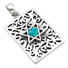 Natural green turquoise tibetan 925 sterling silver pendant jewelry c10982