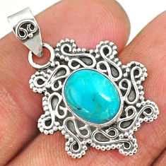 3.83cts natural green turquoise tibetan 925 sterling silver pendant r85081