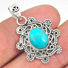 3.91cts natural green turquoise tibetan 925 sterling silver pendant r85101