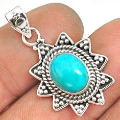 4.18cts natural green turquoise tibetan 925 sterling silver pendant r85138