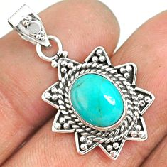 3.62cts natural green turquoise tibetan 925 sterling silver pendant r85139