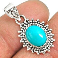 4.84cts natural green turquoise tibetan 925 sterling silver pendant r85142