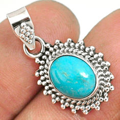 4.77cts natural green turquoise tibetan 925 sterling silver pendant r85147