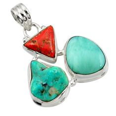 22.05cts natural green turquoise tibetan larimar coral 925 silver pendant d42884