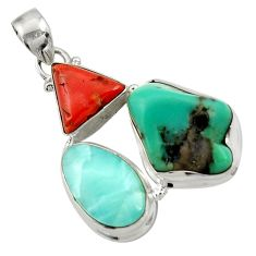 28.86cts natural green turquoise tibetan larimar coral 925 silver pendant d42888