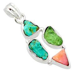 13.15cts natural green turquoise tibetan moldavite 925 silver pendant r40349