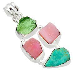 14.47cts natural green turquoise tibetan moldavite 925 silver pendant r40350