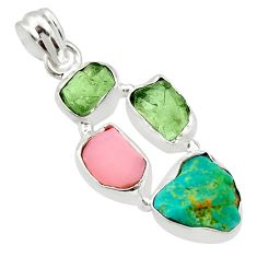 15.65cts natural green turquoise tibetan moldavite opal silver pendant r40343