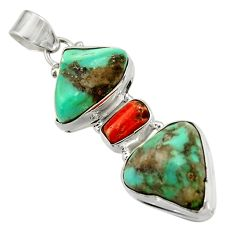 Clearance Sale- 28.84cts natural green turquoise tibetan red coral 925 silver pendant d42891