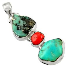 27.05cts natural green turquoise tibetan red coral 925 silver pendant d42897