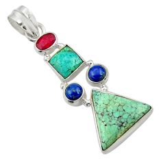 12.83cts natural green turquoise tibetan ruby lapis 925 silver pendant d42909