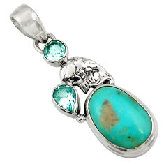 13.28cts natural green turquoise tibetan topaz 925 silver fish pendant d42931
