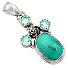 Clearance Sale- 9.72cts natural green turquoise tibetan topaz 925 silver flower pendant d42922
