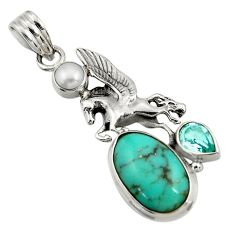 Clearance Sale- 11.02cts natural green turquoise tibetan topaz 925 silver unicorn pendant d42901