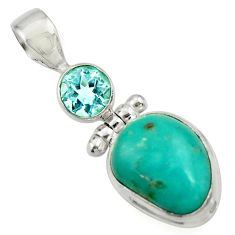 9.72cts natural green turquoise tibetan topaz 925 sterling silver pendant d42921