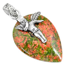 Clearance Sale- 22.02cts natural green unakite 925 silver angel wings fairy pendant r91187
