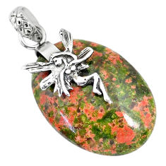 23.01cts natural green unakite 925 silver angel wings fairy pendant r91188