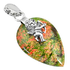 Clearance Sale- 16.86cts natural green unakite 925 silver cupid angel wings pendant r91192
