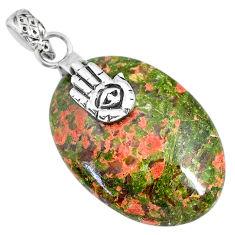 25.09cts natural green unakite 925 silver hand of god hamsa pendant r91191