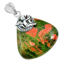 49.88cts natural green unakite 925 sterling silver angel handmade pendant r74466
