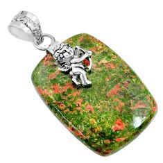 34.85cts natural green unakite 925 sterling silver angel handmade pendant r74469