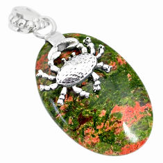 Clearance Sale- 26.46cts natural green unakite 925 sterling silver crab pendant jewelry r91190